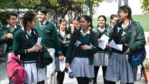 Students came out after ICSE board class 10th at St Xavier school sector 44 Chandigarh on Monday, February 25, 2019.(Karun Sharma/HT)