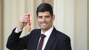 Sir Alastair Cook with his knighthood following an investiture ceremony at Buckingham Palace on February 26, 2019 in London, England)(Getty Images)