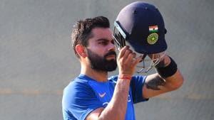 File image of India skipper Virat Kohli in action during a training session.(AFP)