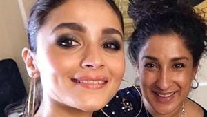 Alia Bhatt with her make-up artist Mira Parmar at Akash Ambani pre-wedding function.(Instagram)