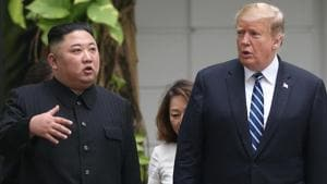 North Korea's leader Kim Jong Un and US President Donald Trump talk in the garden of the Metropole hotel during the second North Korea-US summit in Hanoi, Vietnam February 28, 2019.(Reuters)