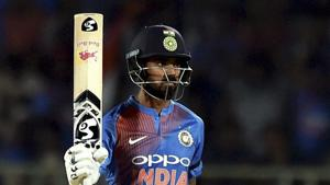 Vizag: India's KL Rahul celebrates scoring half a century against Australia at the first T20 international cricket match between India and Australia.(PTI)