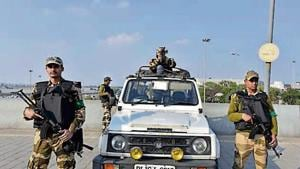 The CISF, which is responsible for guarding Delhi airport, said they were also on the alert against drones.(Sanjeev Verma/HT PHOTO)