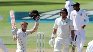 New Zealand's Kane Williamson celebrates his century (100 runs) during day three of the first cricket Test match between New Zealand and Bangladesh.(AFP)