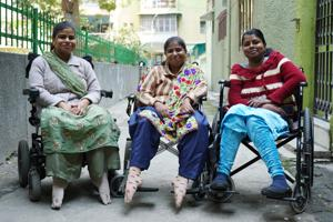 Renu, Nitu and Sonia who are muscular dystrophic are earning livelihood for their family.(Gokul VS/Hindustan Times)
