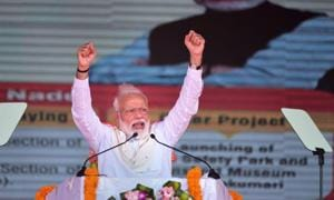Kanyakumari: Prime Minister Narendra Modi speaks during a programme for the launch of various development projects, a road safety park and a transport museum in Kanyakumari, Friday, March 1, 2019.(PTI)