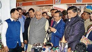 Satyadev Pachauri (second from left), UP minister of micro, small & medium enterprises at the summit.(HT Photo)