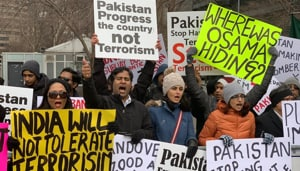 The protestors raised slogans against all major terrorist attacks originating from Pakistan such as the 2008 Mumbai 26/11 attack, the Uri attack and the 2001 Indian Parliament attack among others.(Twitter/OFBJP - USA)