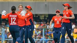 England players celebrate after dismissing an India batswoman during the first T20I in Guwahati.(PTI)