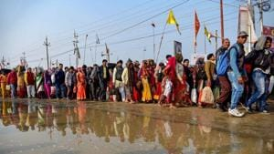 The 49-day Kumbh Mela concluded on Monday with 1.10 crore pilgrims taking a dip in the Sangam on the sixth and last bathing day of Maha Shivratri.(PTI)