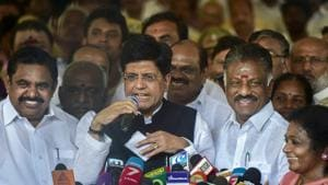Union Minister and BJP's Tamil Nadu election in-charge Piyush Goyal addresses media after ruling AIADMK party signed an alliance with BJP for the upcoming Lok Sabha elections, in Chennai, Feb 19, 2019(AP)