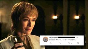 Cersei Lannister is crying and sipping wine in Game of Thrones trailer.