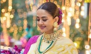 Surveen Chawla is glowing at her baby shower.
