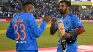 Lokesh Rahul of India celebrates with Hardik Pandya after winning the 1st Vitality International T20 match between England and India at Emirates Old Trafford on July 3, 2018 in Manchester, England.(Getty Images)