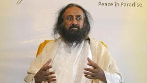 Sri Sri Ravi Shankar, the spiritual guru who has long championed negotiations to end the decades-old Ayodhya temple land dispute, on Friday spoke about ending conflicts and maintaining harmony.(Photo by Waseem Andrabi / Hindustan Times)(HT Photo)