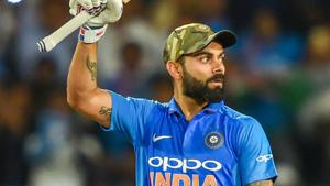 Ranchi: Indian skipper Virat Kohli acknowledges the crowd after hitting a century during the 3rd ODI cricket match against Australia.(PTI)