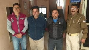 Police arrested three persons involved in a credit card scam in Greater Noida on Saturday.(Sourced)