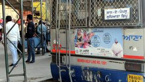 Most of the PRTC buses plying to Mohali, Ludhiana, Amritsar, Sangrur and Bathinda from Patiala were still had these posters on Tuesday.(HT Photo)