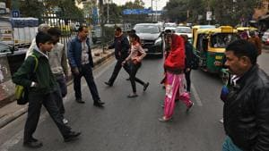 The walkways, wherever provided, are often too narrow and without facilities such as public toilets, signage, road markings, zebra lanes, bus shelter, trees, benches, etc.(Raj K Raj/HT Photo)