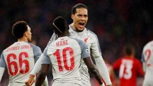Liverpool's Sadio Mane celebrates scoring their third goal with Virgil van Dijk.(Action Images via Reuters)