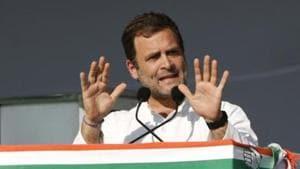 Gandhinagar (Gujarat), March 12 (ANI): Congress President Rahul Gandhi addressing public meeting in Gandhinagar on Tuesday. (ANI Photo)(ANI)