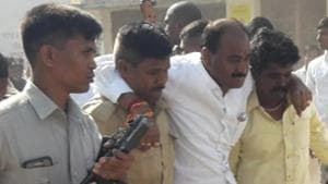TDP leader P Tikka Reddy is being shifted to a hospital after he was hit by a bullet during election campaign in Mantralayam assembly constituency of Andhra Pradesh on Saturday.(HT photo)