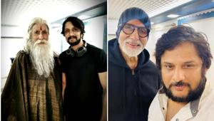Sye Raa Narasimha Reddy director Surender Reddy and actor Sudeep took to Twitter to thank Amitabh Bachchan for being part of the film.(Twitter)