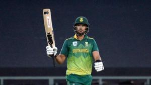 South Africa's Aiden Markram celebrates his scoring 50 runs during their 5th ODI against Sri Lanka.(AFP)