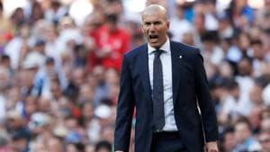 Real Madrid coach Zinedine Zidane reacts during their match against Celta Vigo on Saturday.(REUTERS)