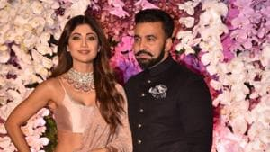 Shilpa Shetty Kundra along with her husband Raj Kundra at the wedding reception of Akash Ambani and Shloka Mehta in Mumbai on March 10, 2019.(IANS)