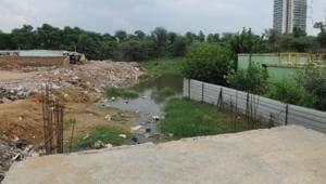 A view of Badshapur drain, in Gurugram(HT File)