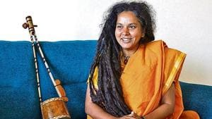 Parvathy Baul performed at the Gurgaon Utsav on Sunday.(Yogendra Kumar/HT)