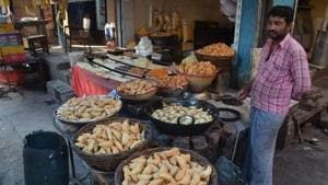 """UP Congress spokesman said, """"We have placed orders for four quintals of 'gujhiya' with a shop in Loknath area.(HT)"""