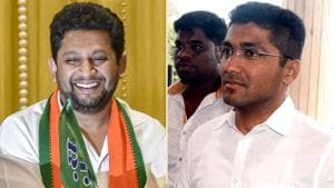 BJP 's Sujay Vikhe-Patil (left) and NCP's Sangram Jagtap are the two main contenders in Ahmednagar Lok Sabha constituency.(Combo Photo)