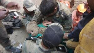 18-month-old boy who fell into a 60-feet deep borewell on Wednesday evening in Haryana's Hisar district was rescued by on Friday.(HT photo)