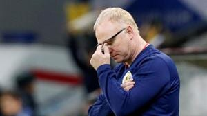 Scotland manager Alex McLeish reacts during their match against Kazakhstan.(REUTERS)