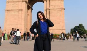 Actor Kirti Kulhari visited the India Gate on her recent trip to Delhi.(Sarang Gupta/HT Photo)