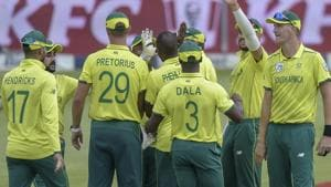 South Africa's Andile Phehlukwayo celebrating with his team mates after getting a wicket during the T20I match between South Africa and Sri Lanka.(AP)