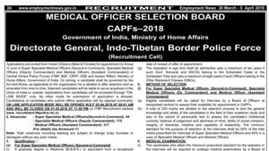 ITBP Medical Officers Recruitment: Indo-Tibetan Border Police Force (ITBP) has issued notification to recruit 496 medical officers in Central Armed Police Forces (ITBP, BSF, CRPF, SSB and Assam Rifles) .