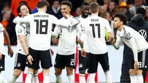 Germany's Thilo Kehrer, Leroy Sane and team mates celebrate after the match.(REUTERS)