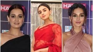Alia Bhatt, Dia Mirza and Shibani Dandekar at the Reel Awards 2019.