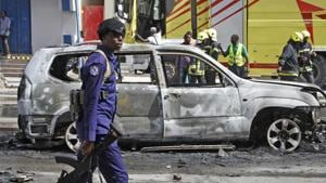 At least 15 people died when a bomb exploded on a busy street and ripped into a nearby restaurant in Somalia's capital on Thursday.(AP)