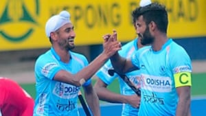 Striker Mandeep Singh continued his prolific form by scoring a brace as India mauled a hapless Poland 10-0 in their final league match of Sultan Azlan Shah Cup hockey tournament in Ipoh on Friday.(Twitter)