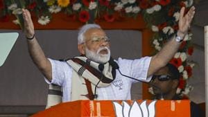 Prime Minister Narendra Modi on Friday resorted to puns even as he hit out at the Andhra Pradesh chief minister K Chandrababu Naidu at a public meeting in Kurnool.(PTI Photo)