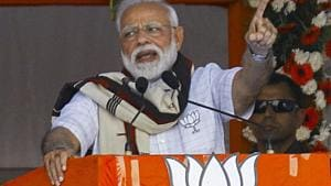 """The Prime Minister lashed out at Chandrababu Naidu for joining hands with corrupt """"bail gadi"""" politicians who were going around the country on bail.(PTI)"""
