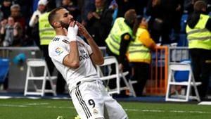 Real Madrid's Karim Benzema celebrates after scoring a goal.(Reuters)