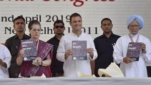 """The Congress on Tuesday unveiled its manifesto for the Lok Sabha elections saying that it has """"enough to address everyone's concerns"""" in the country .(HT Photo)"""