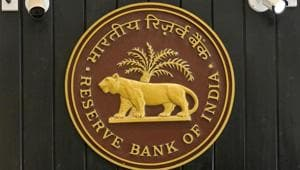 The logo of Reserve Bank of India (RBI) inside its headquarters in Mumbai.(REUTERS)