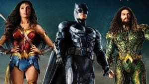 Wonder Woman, Batman and Aquaman in a poster for Justice League.