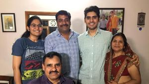Kanishak Kataria, 26, was at his Jaipur home with elder sister, Tanmaya, on Friday evening when he checked the result of Civil Services Examination. He jumped in joy and almost dropped his mobile phone when he found out that he had topped the exam.(Rakesh Goswami/HT photo)